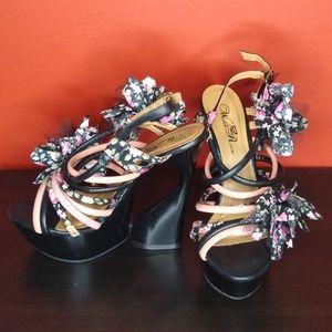Unique Black Heels with Fabric Design